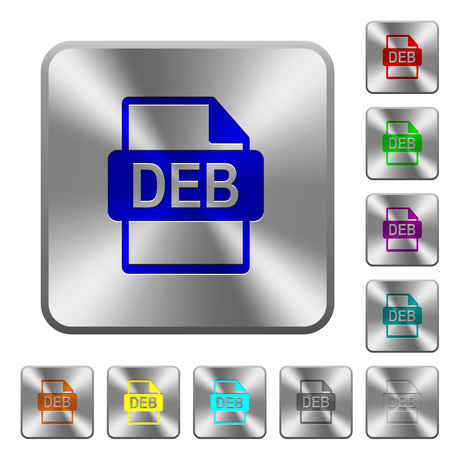 DEB file format engraved icons on rounded square glossy steel buttons Stock Illustratie