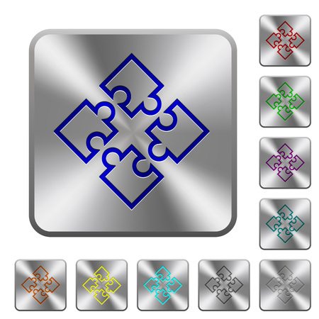 Puzzle pieces engraved icons on rounded square glossy steel buttons Vektoros illusztráció