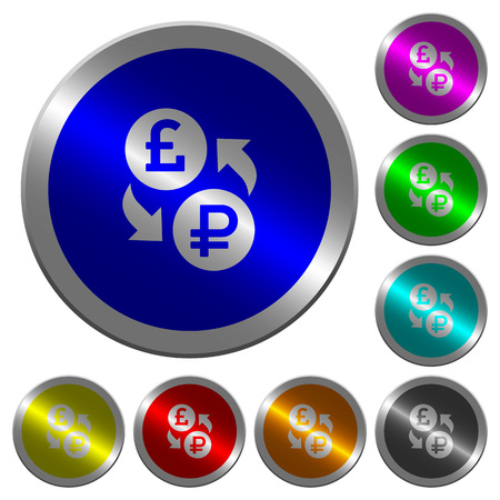 Pound Ruble money exchange icons on round luminous coin-like color steel buttons