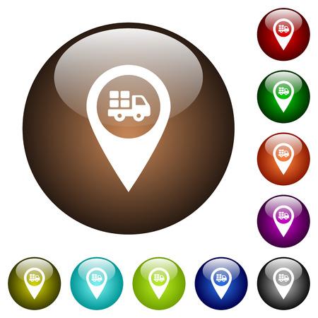 Icônes blanches d'emplacement de carte GPS de service de transport sur des boutons en verre ronds de couleur