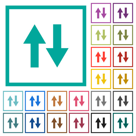 Data traffic flat color icons with quadrant frames on white background