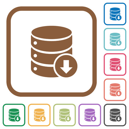 Database down simple icons in color rounded square frames on white background