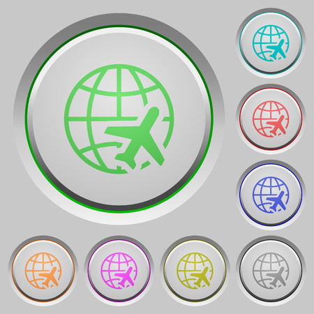 World travel color icons on sunk push buttons