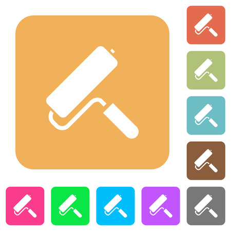 Paint roller flat icons on rounded square vivid color backgrounds.