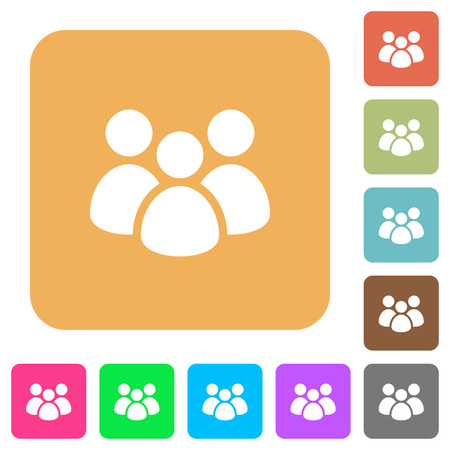 Team flat icons on rounded square vivid color backgrounds. Ilustrace
