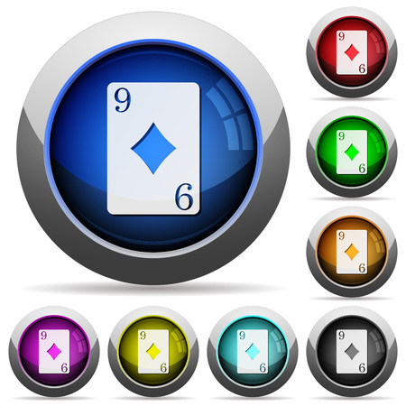 Nine of diamonds card icons in round glossy buttons with steel frames