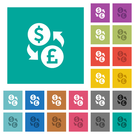 Dollar Pound money exchange multi colored flat icons on plain square backgrounds. Included white and darker icon variations for hover or active effects.