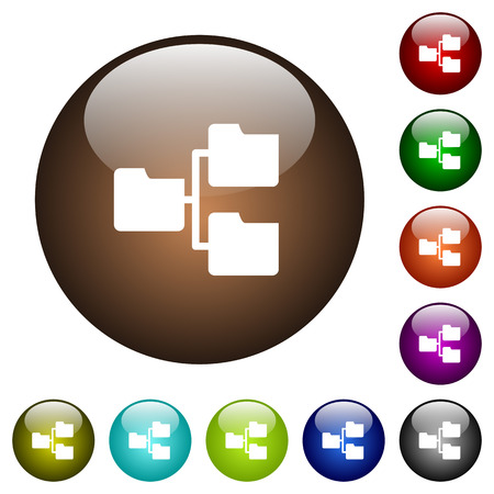 Shared folders white icons on round color glass buttons