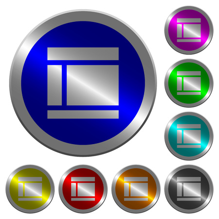 Two columned web layout icons on round luminous coin-like color steel buttons