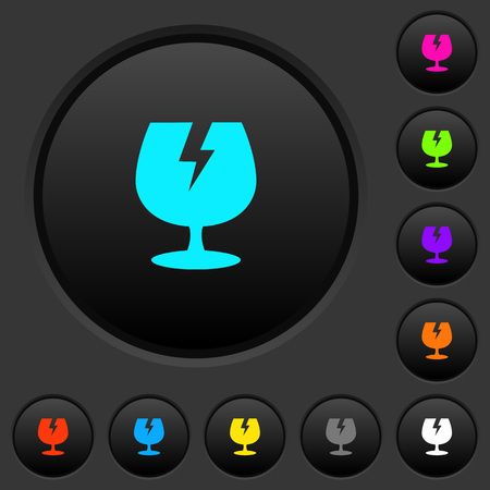 Fragile symbol dark push buttons with vivid color icons on dark grey background