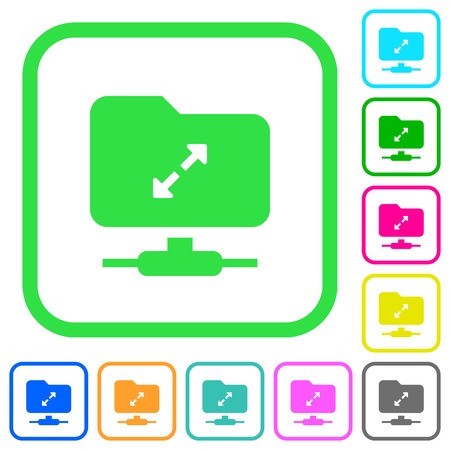 FTP uncompress vivid colored flat icons in curved borders on white background