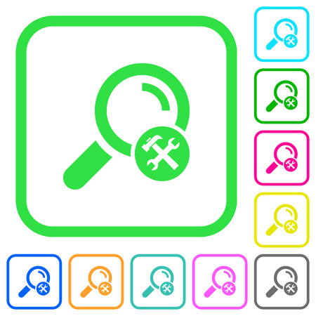Customize search vivid colored flat icons in curved borders on white background