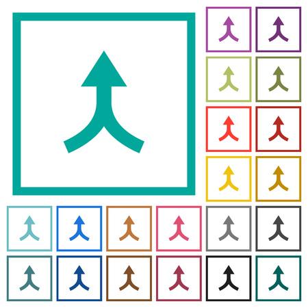 Unisci le frecce verso l'alto icone di colore piatto con cornici quadrante su sfondo bianco