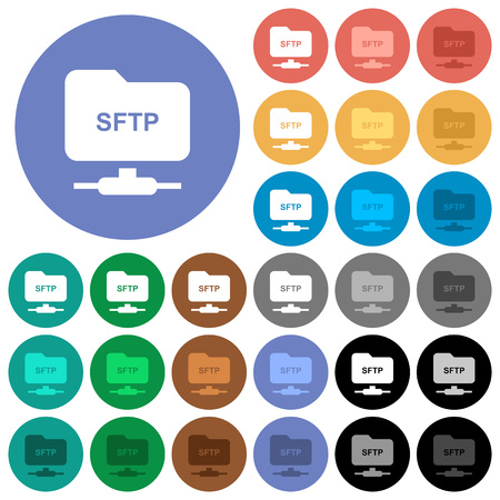 FTP over SSH multi colored flat icons on round backgrounds. Included white, light and dark icon variations for hover and active status effects, and bonus shades on black backgounds.