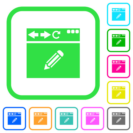 Browser edit vivid colored flat icons in curved borders on white background