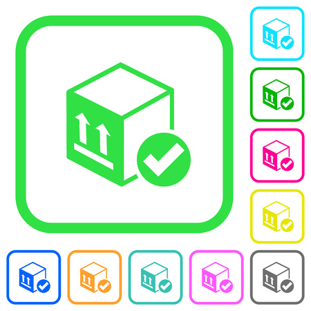 Package delivered vivid colored flat icons in curved borders on white background