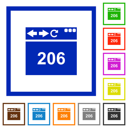 Browser 206 Partial Content flat color icons in square frames on white background