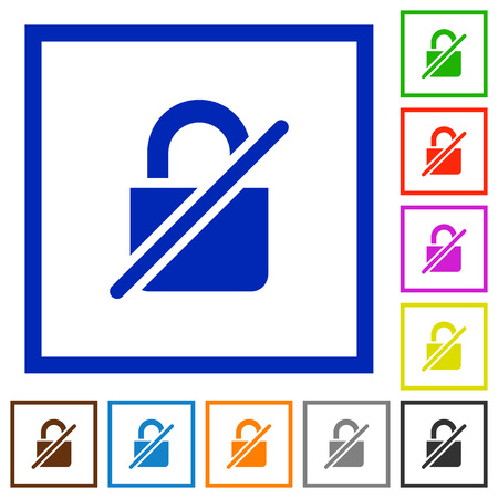 Unprotected flat color icons in square frames on white background Illustration
