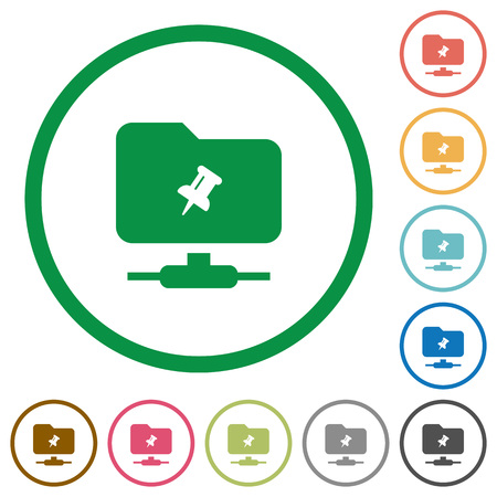 FTP pin flat color icons in round outlines on white background 版權商用圖片 - 114711906