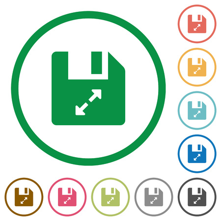Uncompress file flat color icons in round outlines on white background Illustration