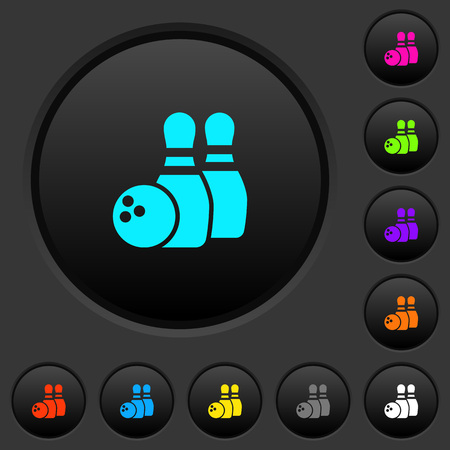 Bowling dark push buttons with vivid color icons on dark grey background