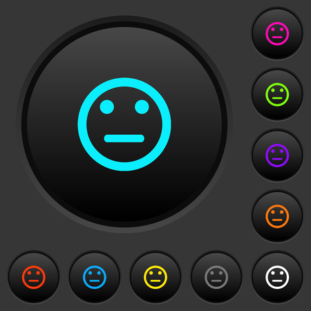Neutral emoticon dark push buttons with vivid color icons on dark grey background