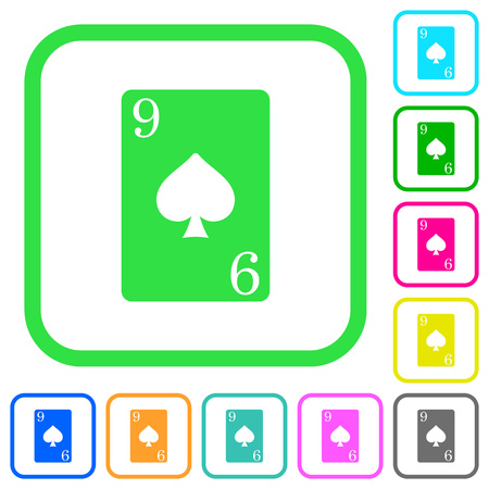 Nine of spades card vivid colored flat icons in curved borders on white background
