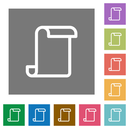 Blank paper scroll flat icons on simple color square backgrounds