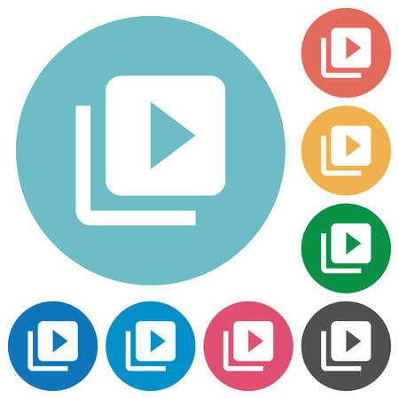 Video library flat white icons on round color backgrounds