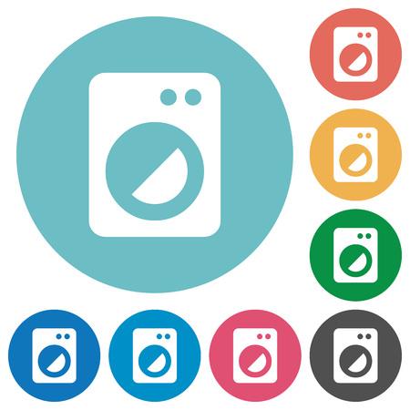 Washing machine flat white icons on round color backgrounds Stock Illustratie