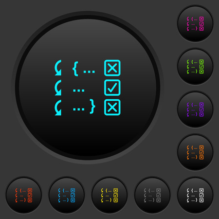 Debugging program dark push buttons with vivid color icons on dark grey background