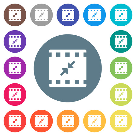 Movie resize small flat white icons on round color backgrounds. 17 background color variations are included.
