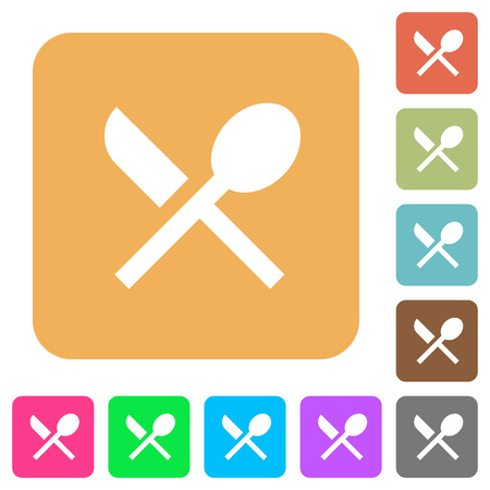 Dining flat icons on rounded square vivid color backgrounds.
