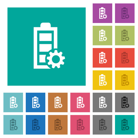 Power management multi colored flat icons on plain square backgrounds. Included white and darker icon variations for hover or active effects. Illustration