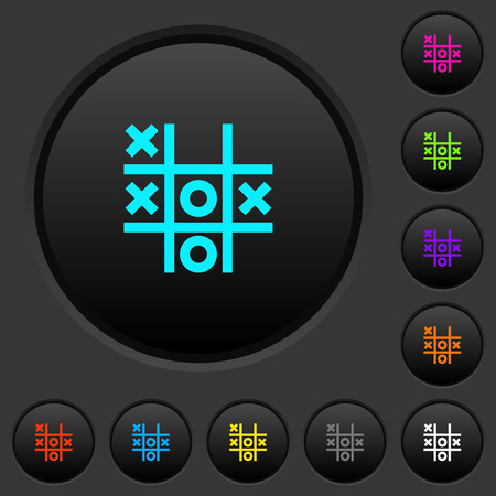 Tic tac toe game dark push buttons with vivid color icons on dark grey background