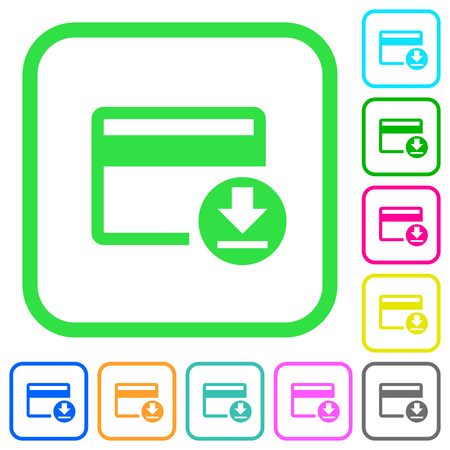 Money withdrawal with credit card vivid colored flat icons in curved borders on white background Illustration