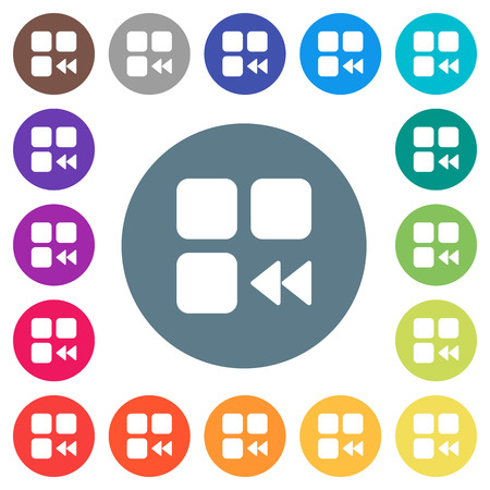 Component fast backward flat white icons on round color backgrounds. 17 background color variations are included. Illusztráció