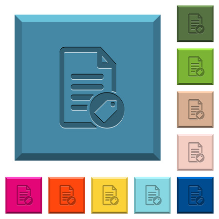 Tagging document engraved icons on edged square buttons in various trendy colors