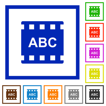 Movie subtitle flat color icons in square frames on white background