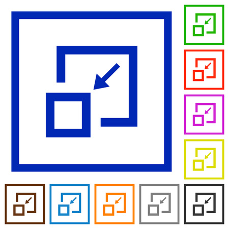 Shrink window flat color icons in square frames on white background