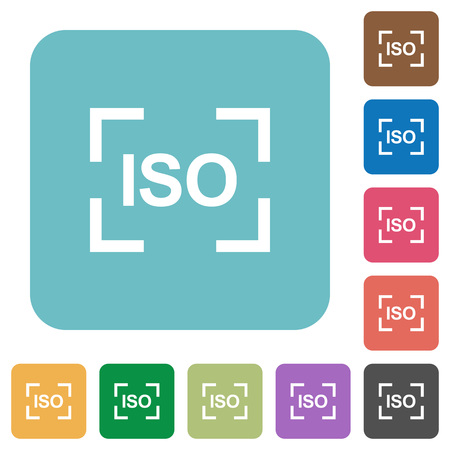 Camera iso speed setting white flat icons on color rounded square backgrounds 向量圖像