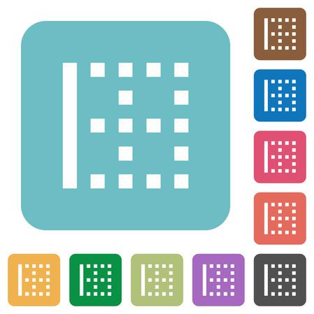 Left border white flat icons on color rounded square backgrounds Ilustracja