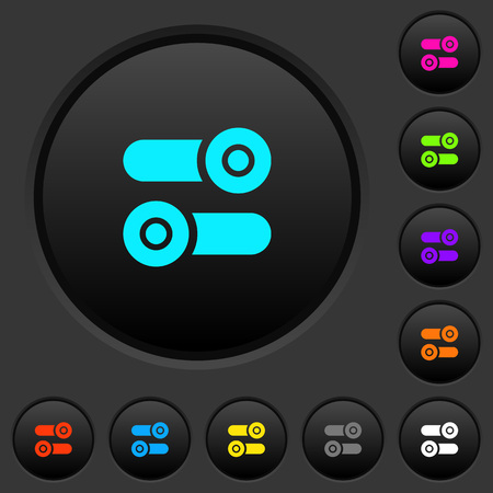 Toggle switches dark push buttons with vivid color icons on dark grey background