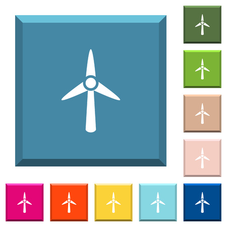 Wind turbine white icons on edged square buttons in various trendy colors