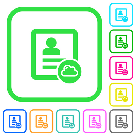 Cloud contact vivid colored flat icons in curved borders on white background