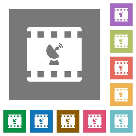 Iconos planos de transmisión de películas sobre fondos cuadrados de colores simples