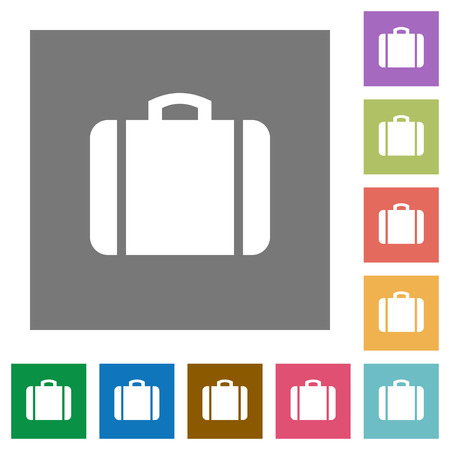 Suitcase flat icons on simple color square backgrounds Illustration
