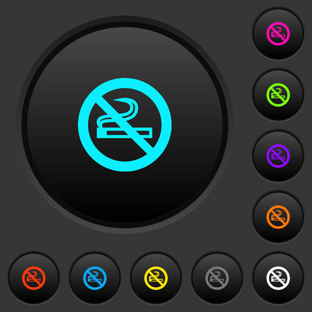 No smoking sign dark push buttons with vivid color icons on dark grey background