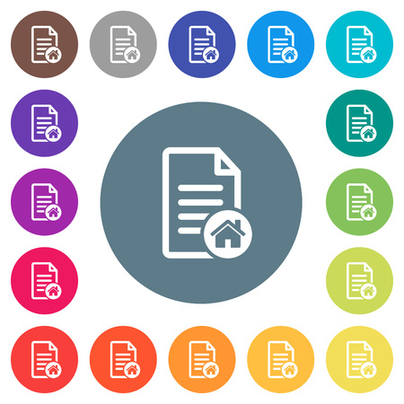 Default document flat white icons on round color backgrounds. 17 background color variations are included. Иллюстрация