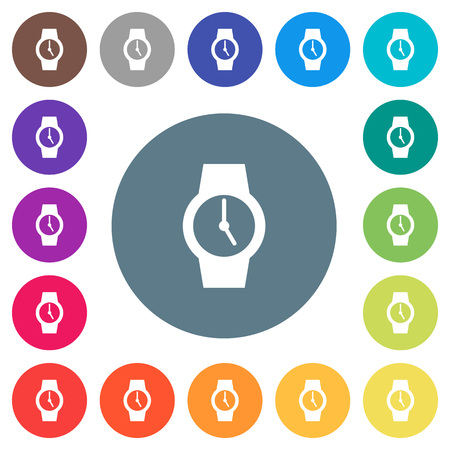 Watch flat white icons on round color backgrounds. 17 background color variations are included. Illustration